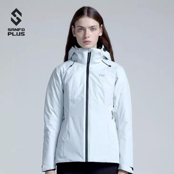 sanfoplus-冰雾三合一羽绒冲锋衣-商务休闲羽绒服女